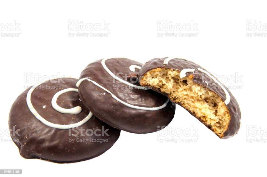 Chocolate cookies with cream filling isolated on white background. royalty-free stock photo