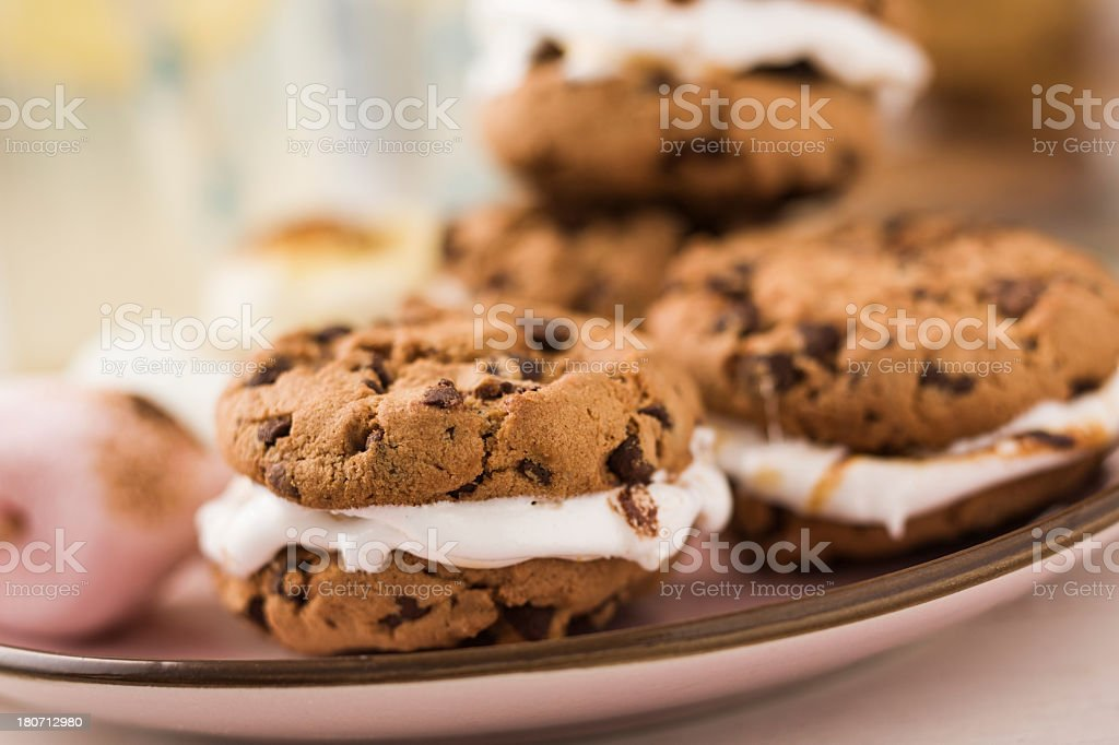 Chocolate Cookies with Marshmallows royalty-free stock photo
