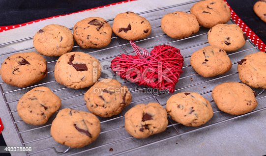 Chocolate cookies with red strip and decorative heart