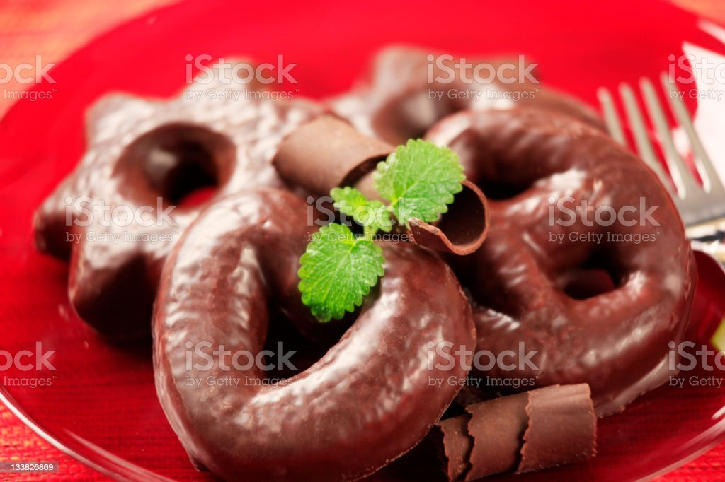 Chocolate covered gingerbread cookies stock photo