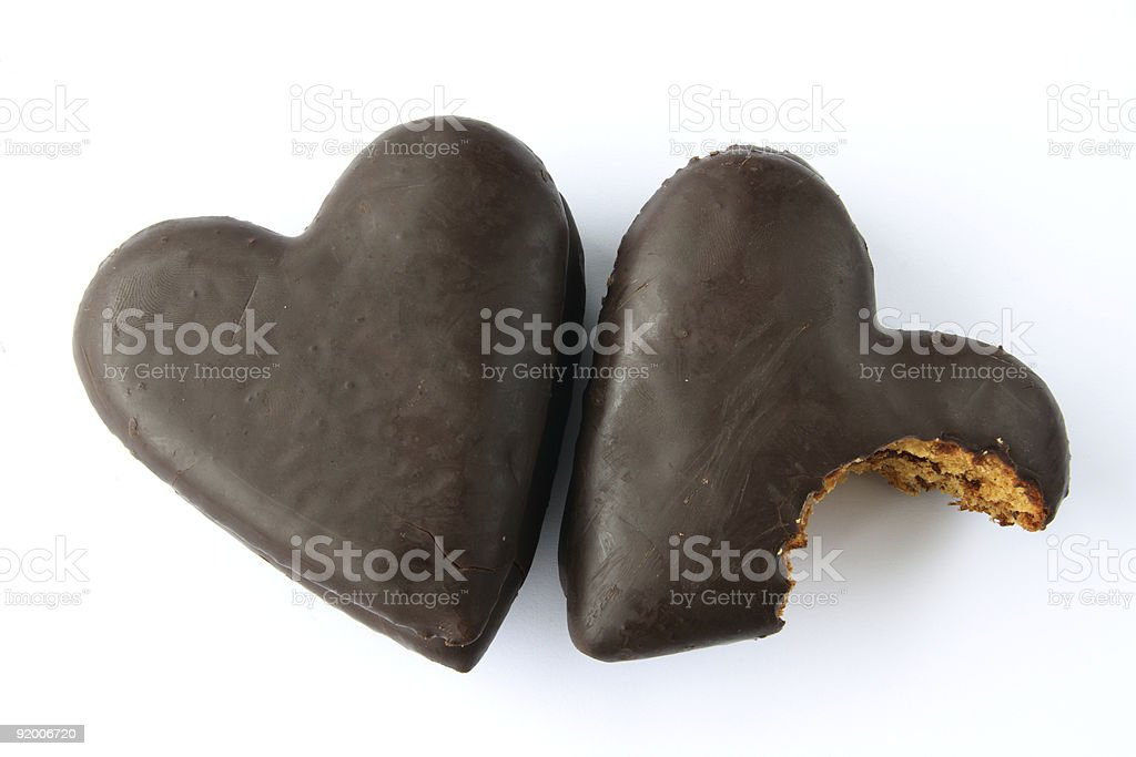 Chocolate covered gingerbread hearts royalty-free stock photo