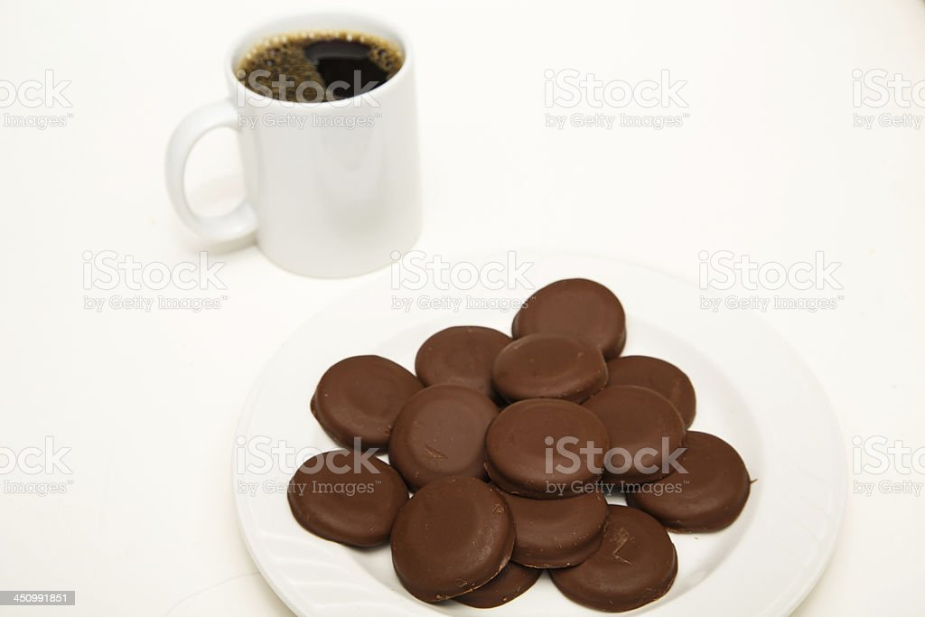 Chocolate Covered Mint Cookies with Coffee stock photo