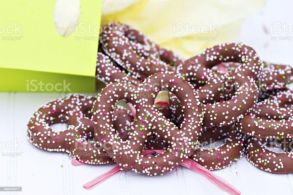 Chocolate covered pretzels stock photo