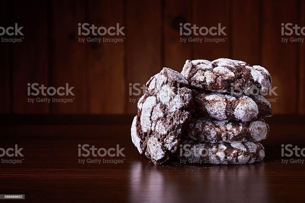 Chocolate crackles cookies stock photo