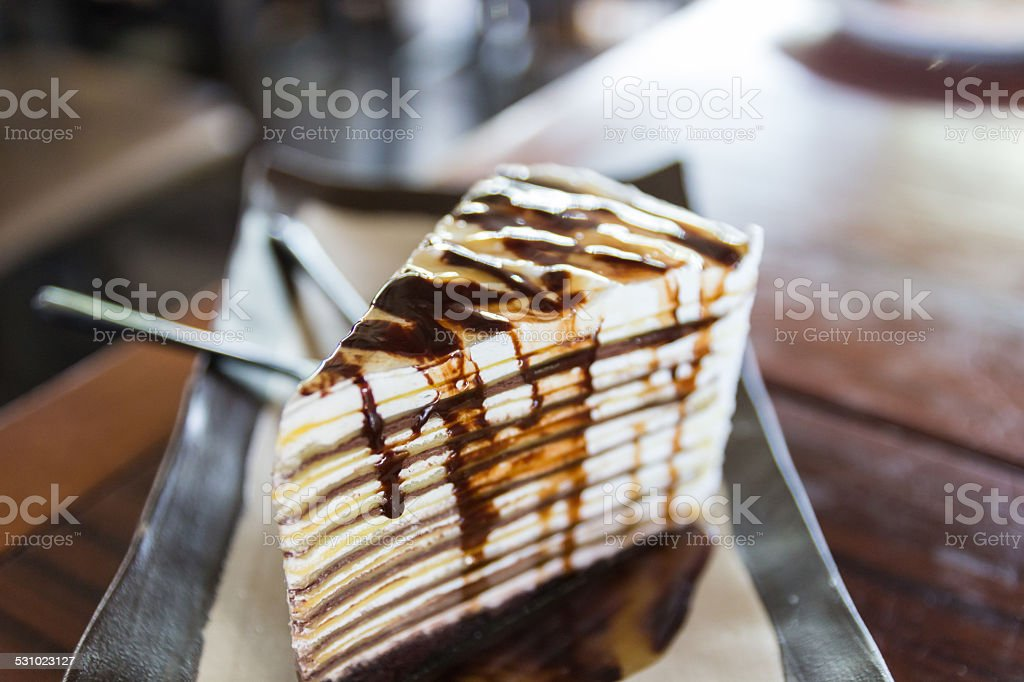 chocolate crepe cake stock photo