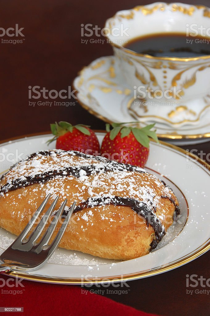 Chocolate Croissant and Coffee royalty-free stock photo