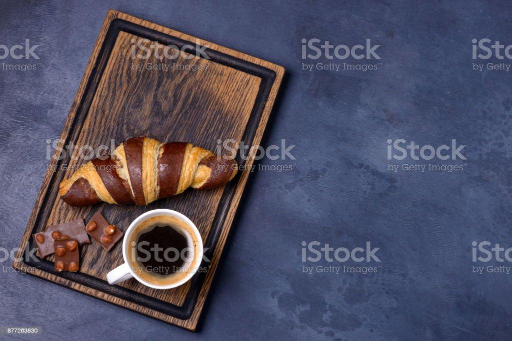Chocolate croissant, coffee and chocolatier stock photo