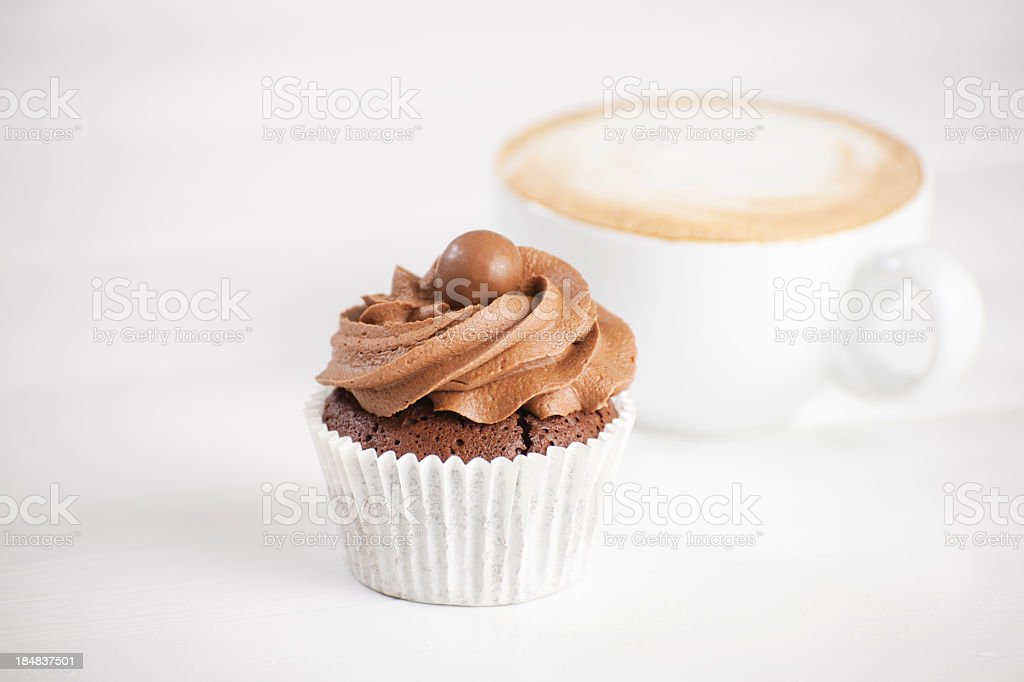 Chocolate cup cake with Cappuccino stock photo