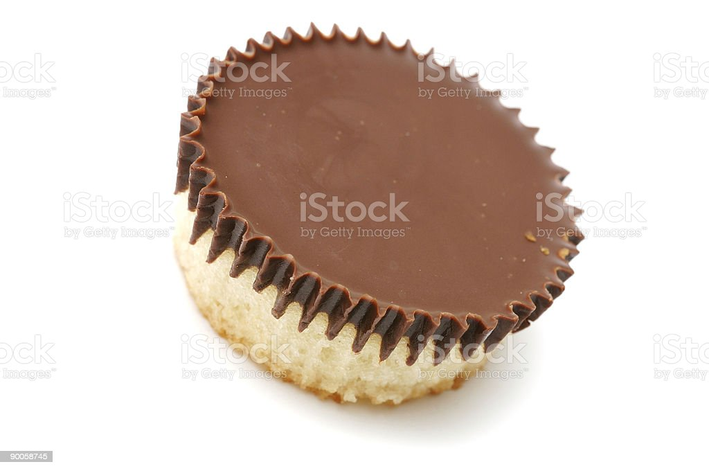 Chocolate cup cakes isolated against a white background stock photo