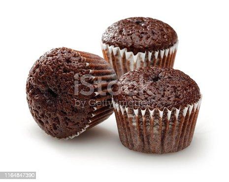 Chocolate cupcake isolated on white background