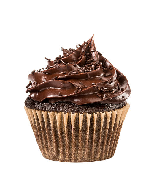 Chocolate Cupcake Chocolate cupcake with sprinkles  isolated on white. cupcake stock pictures, royalty-free photos & images