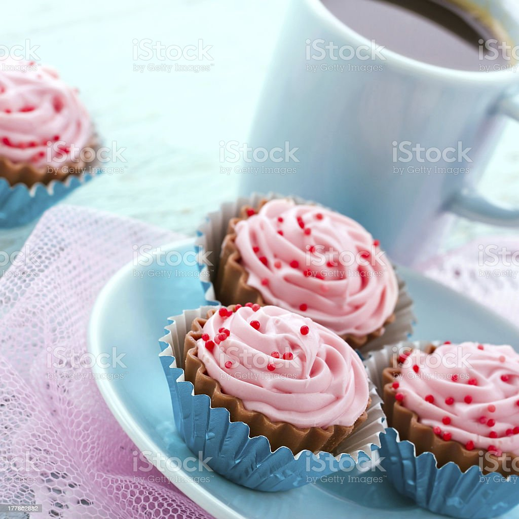 Chocolate cupcake pralines with coffee royalty-free stock photo