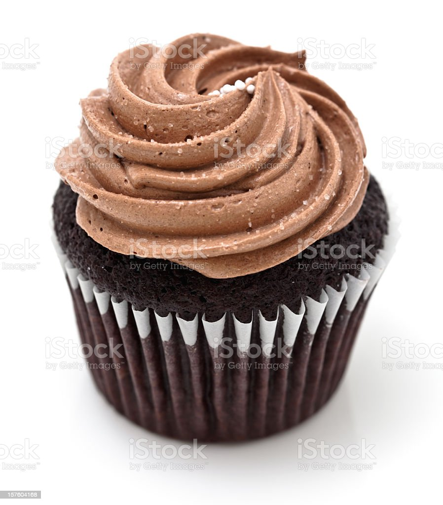 Chocolate cupcake with chocolate frosting stock photo