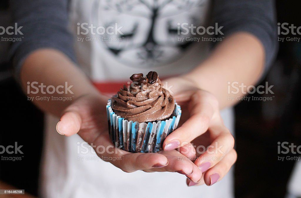 Chocolate cupcake with coffee beans stock photo
