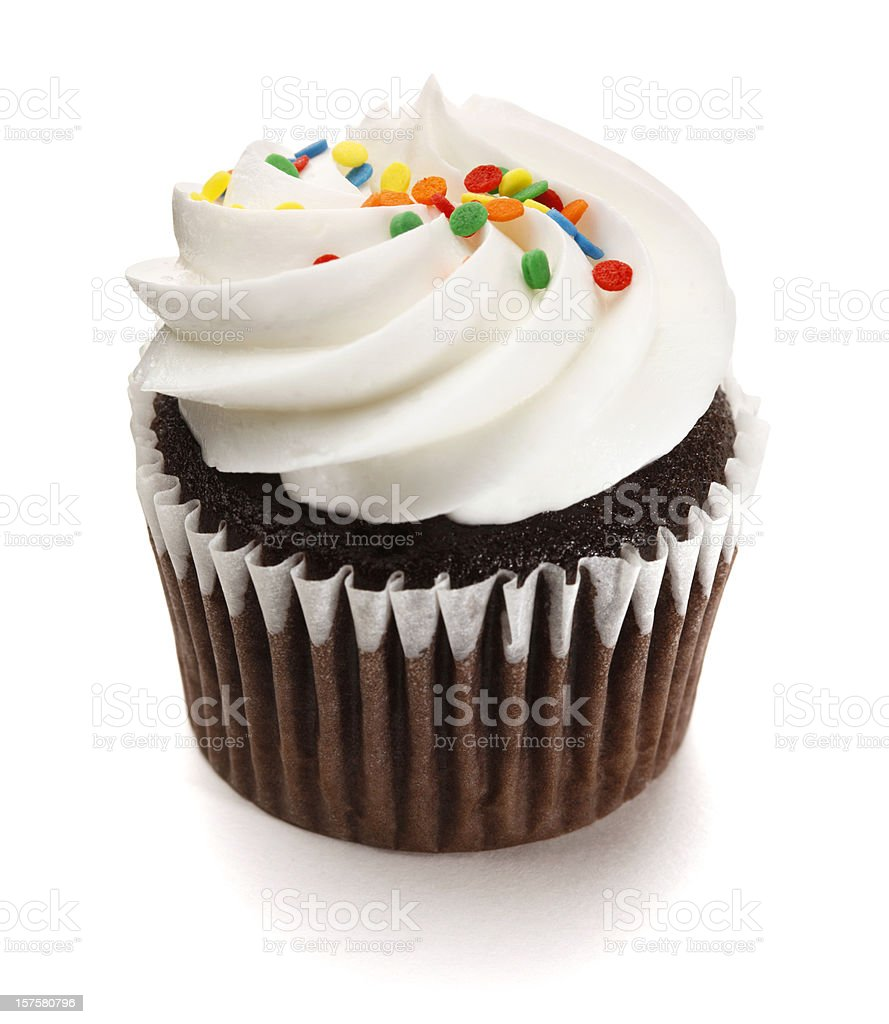 Chocolate Cupcake with Frosting on White Background stock photo