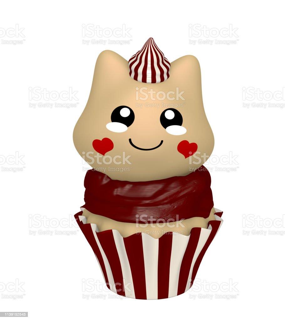 Schokoladencupkuchen mit Kawaii-Stil. – Foto