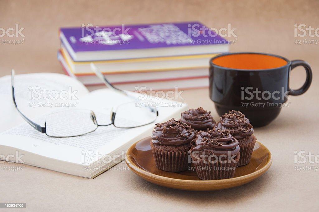 Chocolate cupcakes for work break stock photo