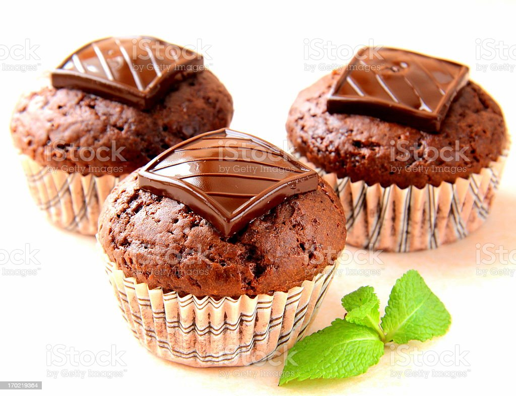 chocolate cupcakes (muffins) royalty-free stock photo