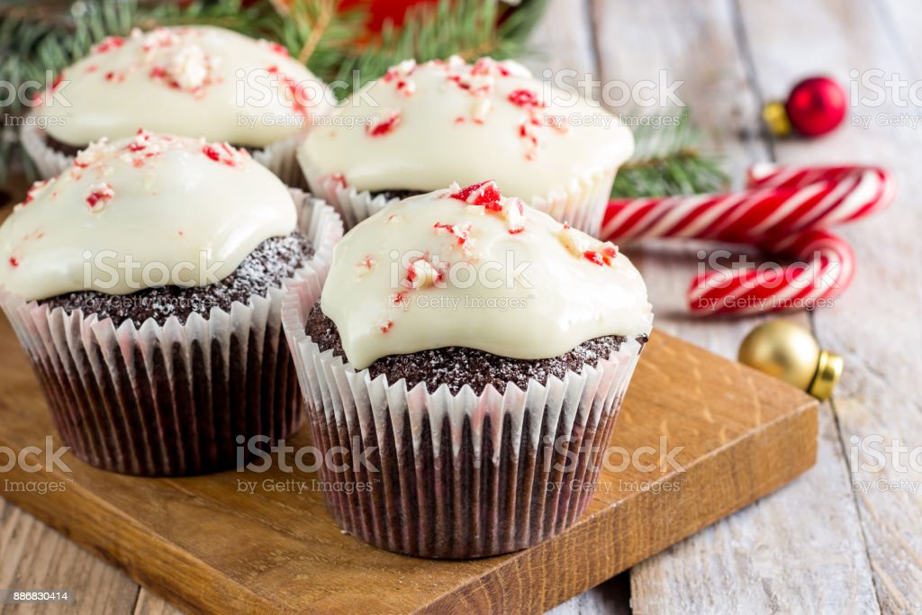 Chocolate cupcakes with candy cane stock photo
