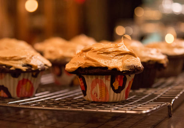 Chocolate Cupcakes with Peanut Butter Frosting stock photo