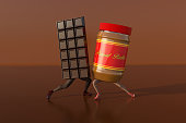 High resolution digital image of a bar of chocolate dancing with a jar of peanut butter.  Both objects have human legs, are wearing fancy shoes, and are dancing on a semi reflective brown background that evokes the color tonality of both ingredients.