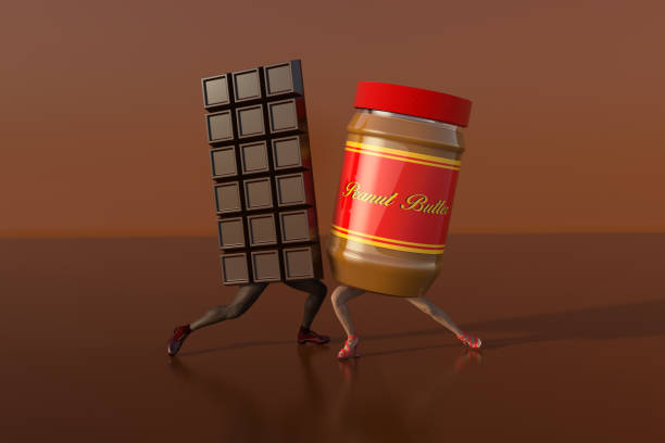 Chocolate Dancing With Peanut Butter stock photo
