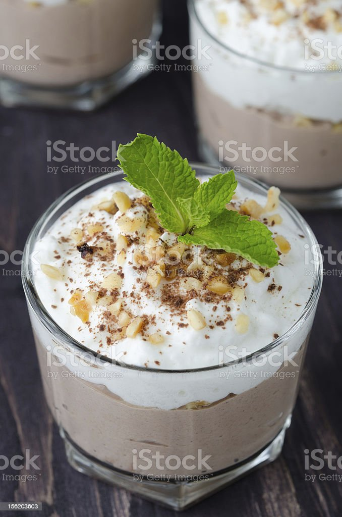 Chocolate dessert with whipped cream royalty-free stock photo