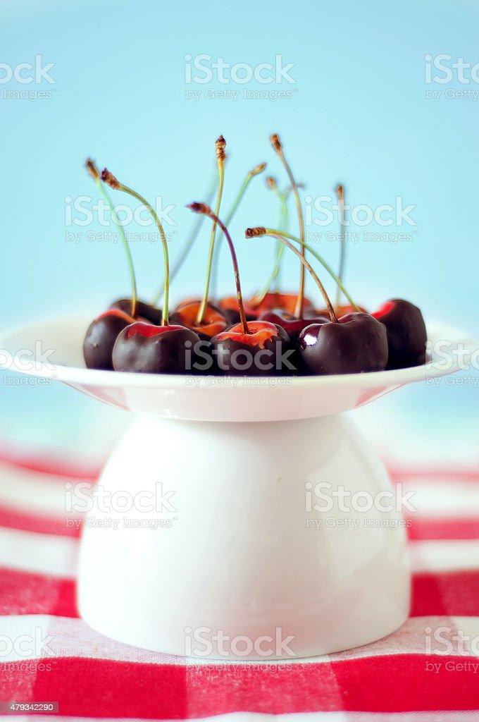 Chocolate dipped cherries stock photo