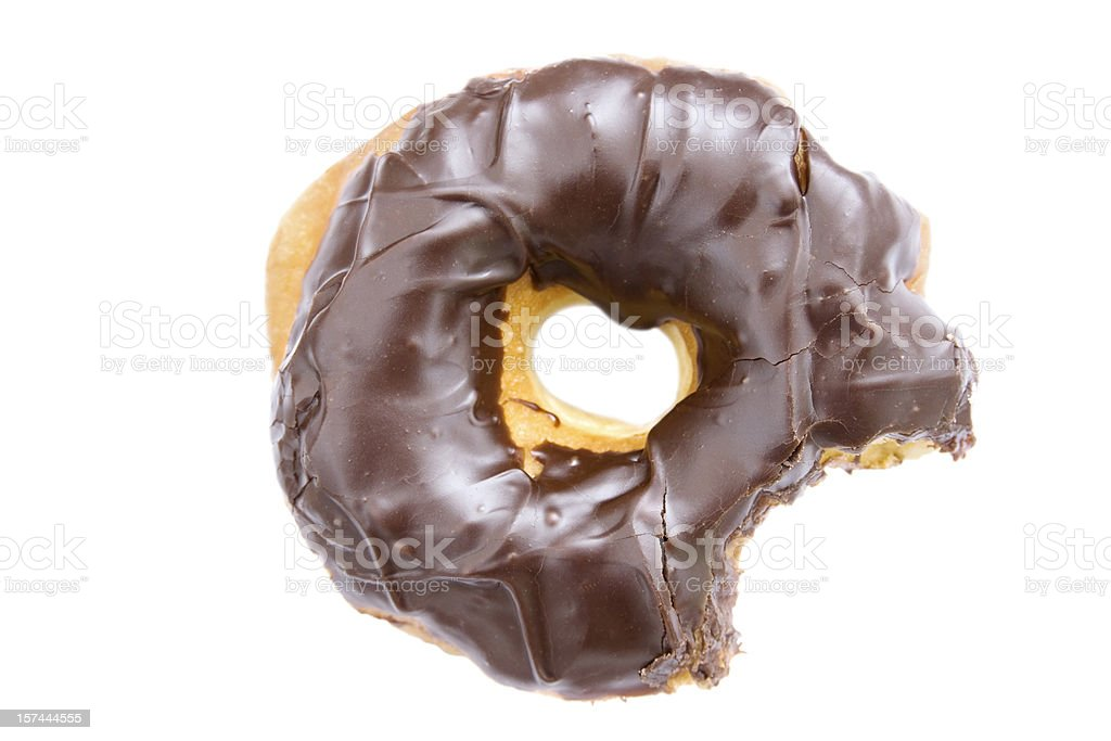 chocolate dipped donut with bite missing royalty-free stock photo