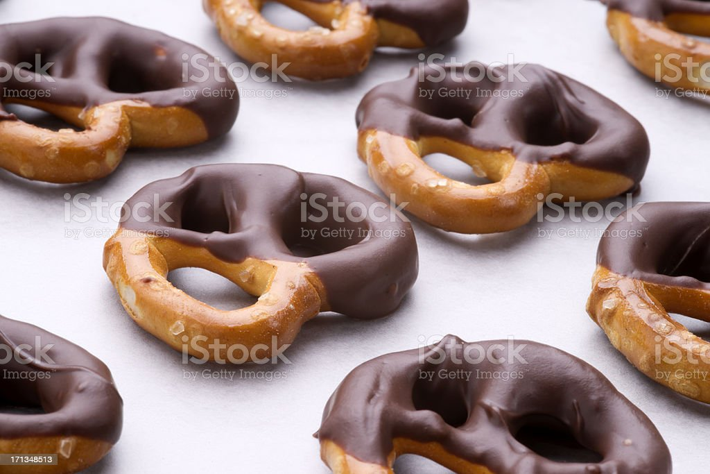 Chocolate Dipped Pretzels stock photo