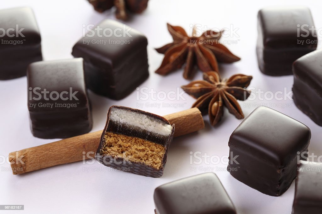 Chocolate Domino Cinnamon Stick and Star Anise royalty-free stock photo