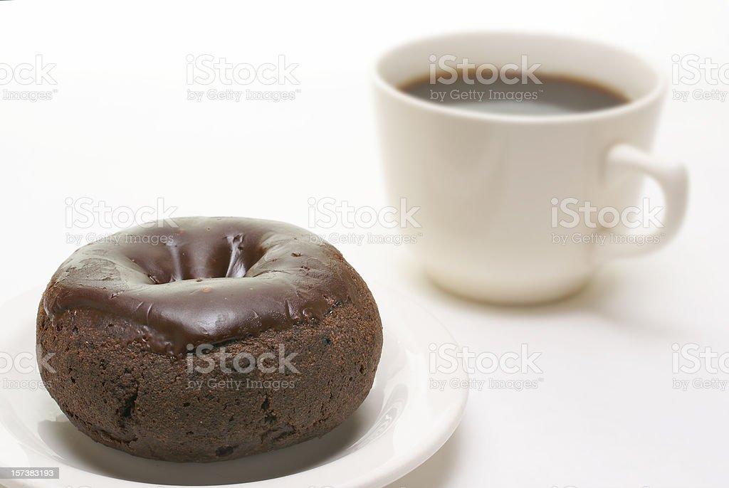 chocolate donut and coffee stock photo