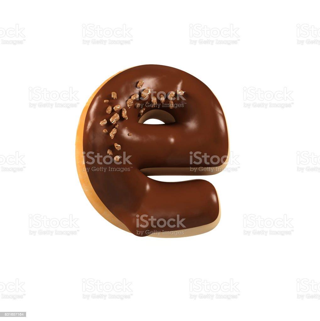 초콜릿 도넛 글꼴 개념입니다. 맛 있는 편지 E 스톡 사진