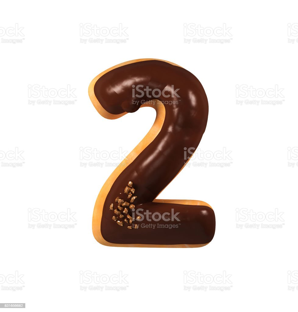 초콜릿 도넛 글꼴 개념입니다. 맛 있는 수 2 스톡 사진