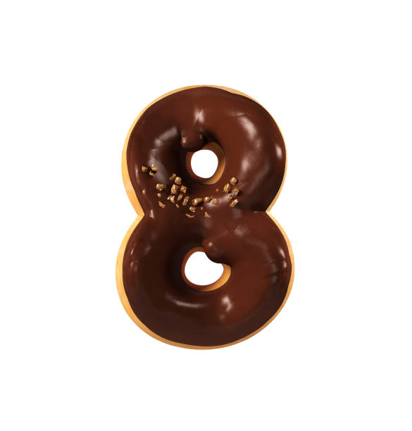 Chocolate Donut Font Concept. Delicious Number 8 stock photo