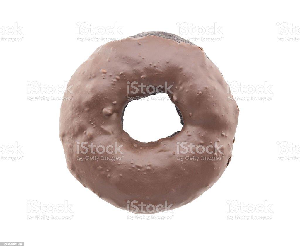 chocolate donut isolated on white background stock photo