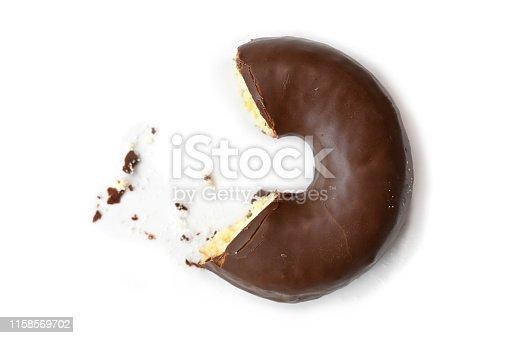 Chocolate donut on white background - isolated