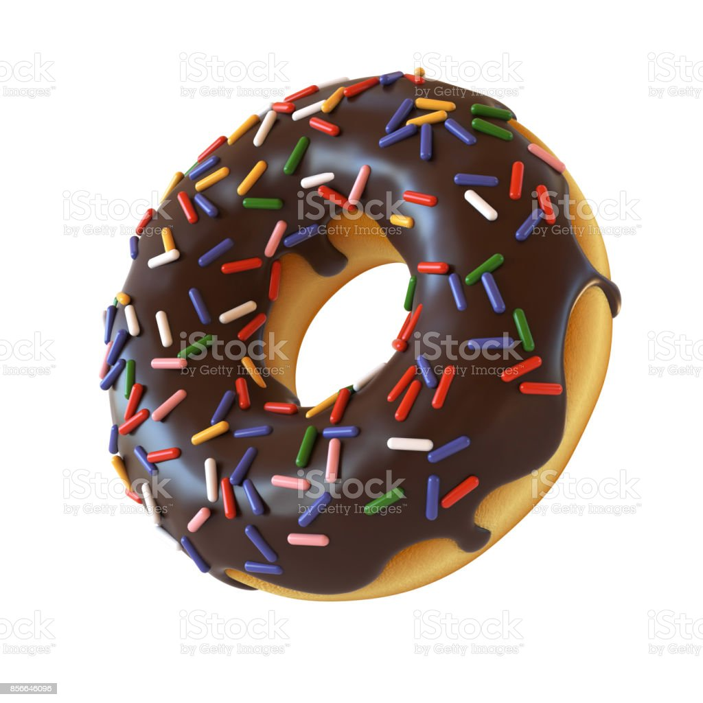 Chocolate donut or doughnut with sprinkles 3d rendering stock photo