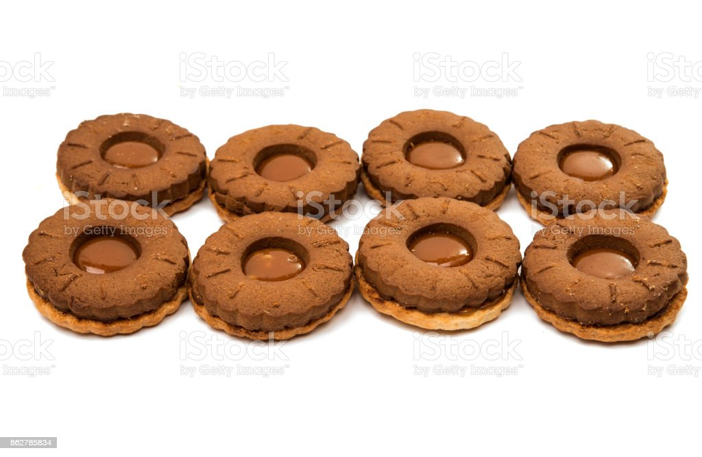 Chocolate double cookie isolated stock photo