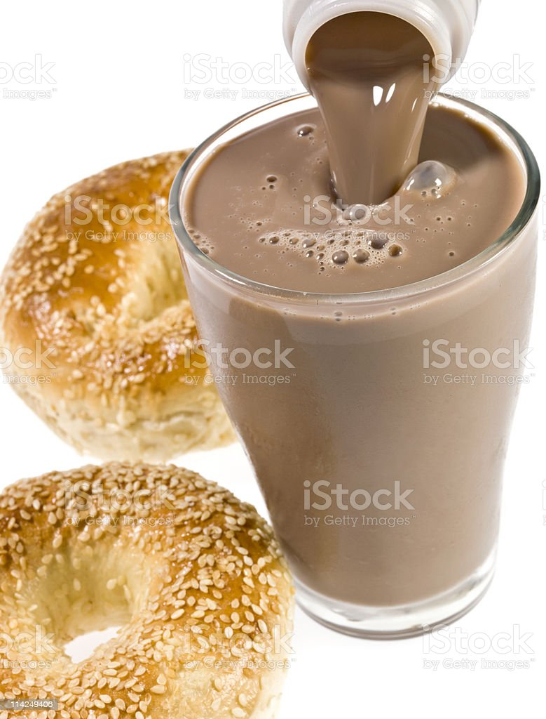Chocolate drink and bagels royalty-free stock photo
