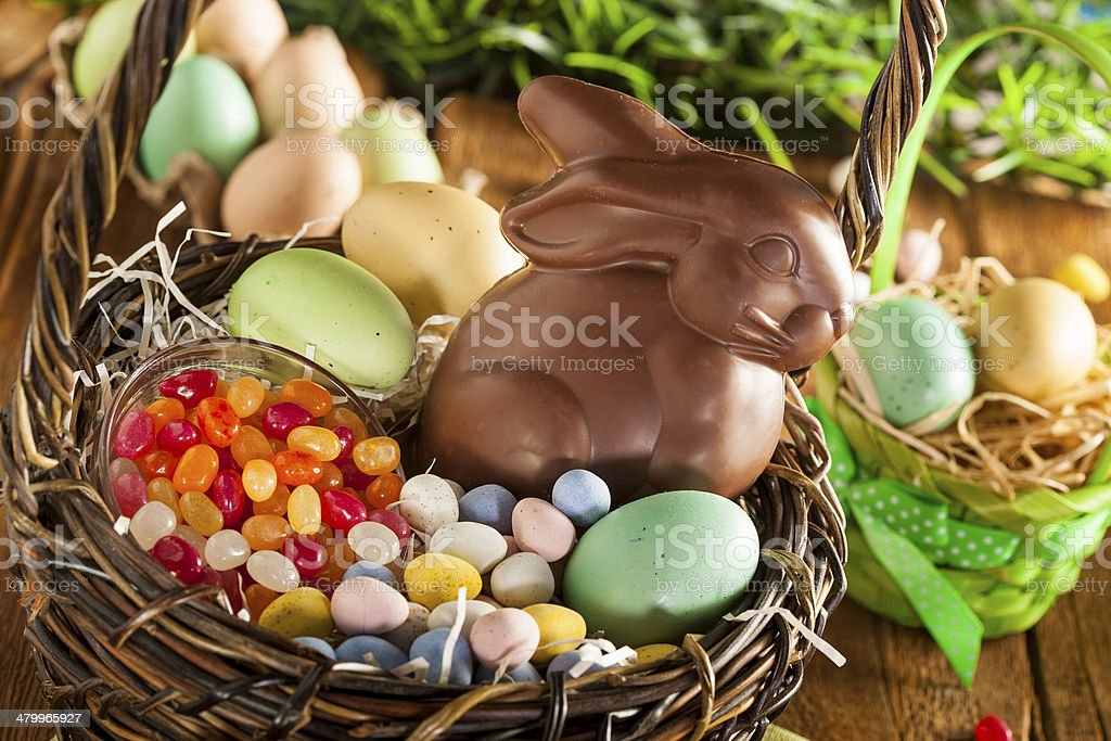 Chocolate Easter Bunny in a Basket royalty-free stock photo