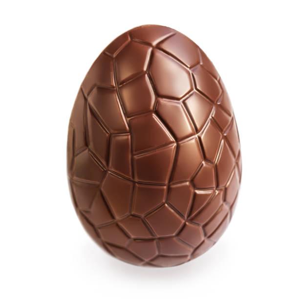 Chocolate Easter  egg  isolated on white background, close up stock photo