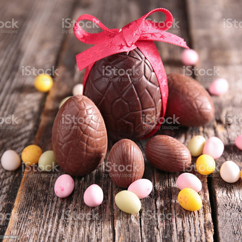 chocolate easter egg stock photo