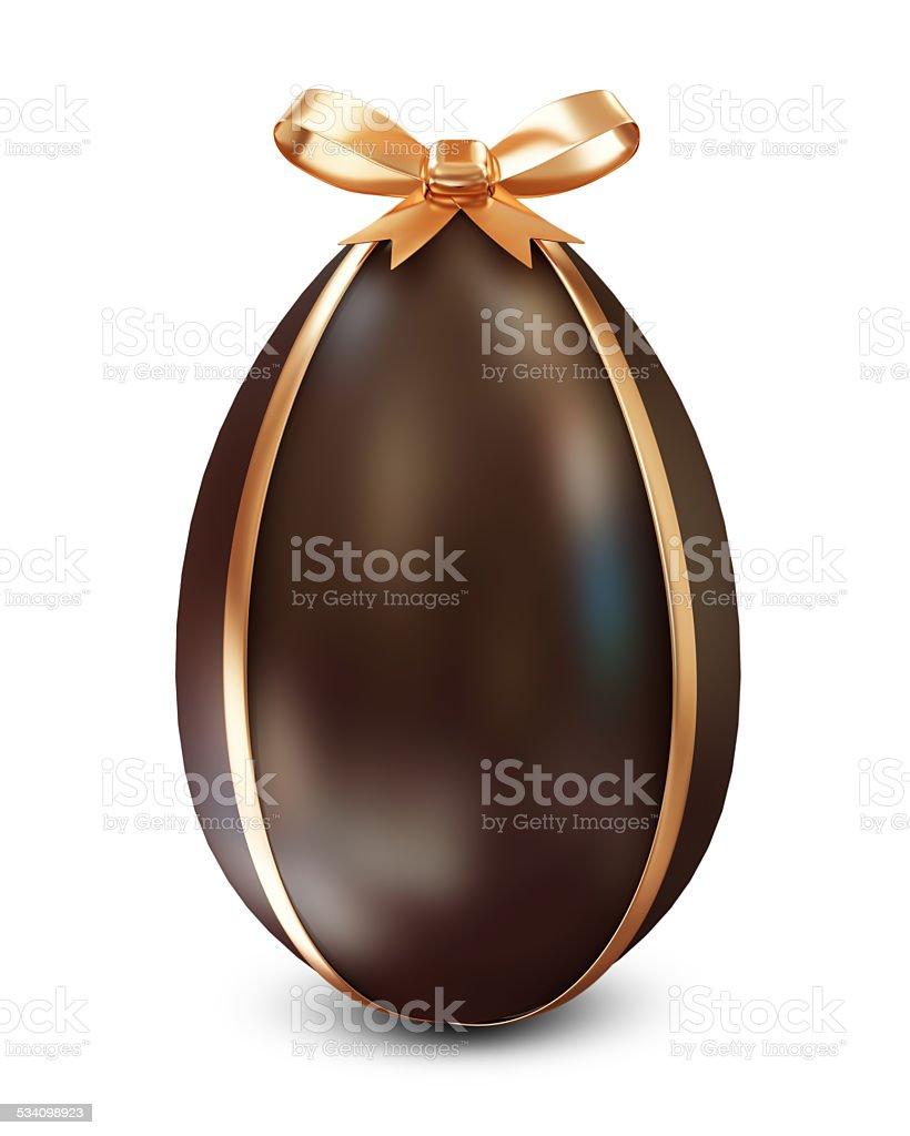 Schokoladen-Osterei mit goldenen Bogen isoliert auf weißem Hintergrund – Foto