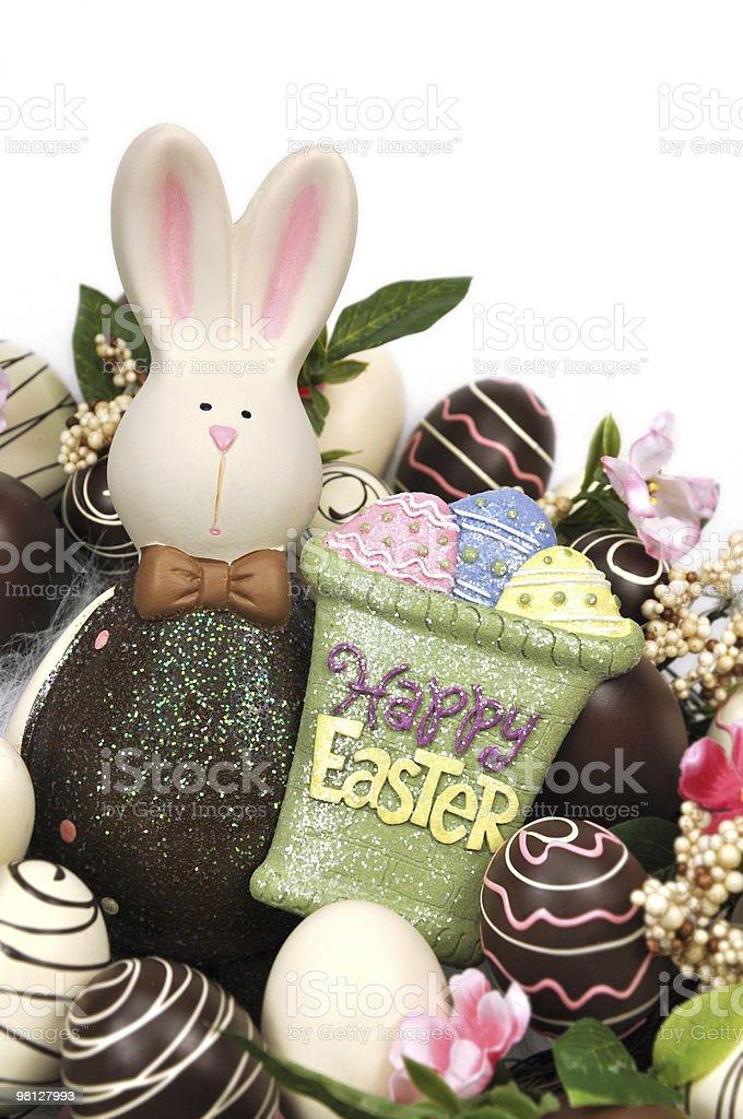 초콜릿 부활제 에그스 및 토끼 royalty-free 스톡 사진