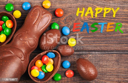 Chocolate Easter eggs and rabbit on rustic wooden background. The font used is free for commercial use.