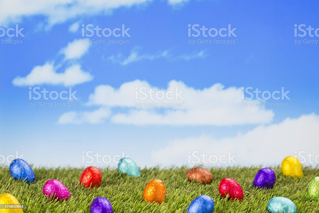 Chocolate Easter eggs on a grassy field royalty-free stock photo