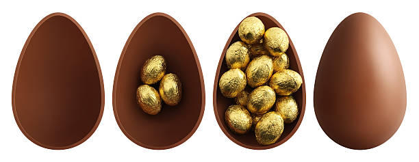 chocolate Easter eggs on white background stock photo