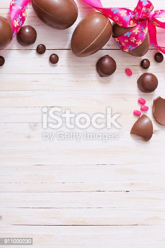 istock Chocolate Easter Eggs Over Wooden Background 911000230
