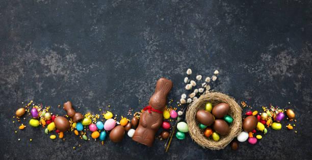 Chocolate Easter eggs stock photo